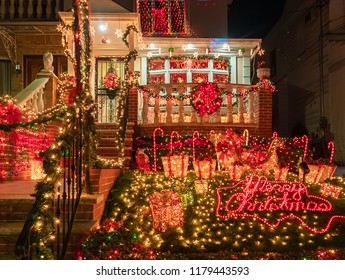 New York, USA, December 2017. Christmas illuminations of the houses of the famous Dyker Heights neighborhood in Brooklyn