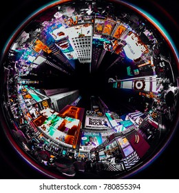 New York / USA - December 22, 2017: view of times square 360 degrees camera
