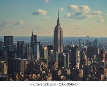 New York, USA, December 25, 2017. Aerial view, from a helicopter, of Manhattan skyscrapers