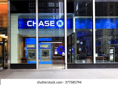 New York, New York, USA - December 25, 2015: A Chase Bank  in Manhattan.