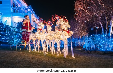 New York, USA, December 27, 2017. Famous giant Christmas decorations of houses in the neighborhood of Dyker Heights, in southwest of Brooklyn