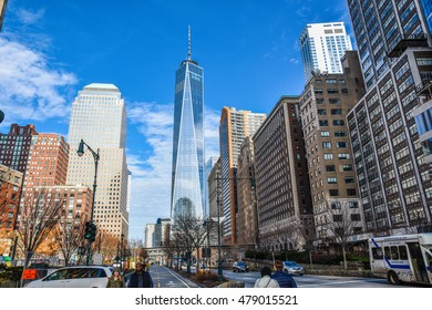 NEW YORK, USA - DECEMBER 28: View of One Trade Center and other buildings on the Hudson River Greenway. Taken in December 28, 2015 in New York, USA.