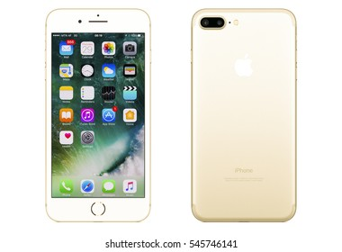 New York, USA - December 28, 2016: Brand new gold Apple iPhone 7 Plus front side and backside isolate on background with clipping path.