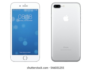 New York, USA - December 28, 2016: Brand new silver Apple iPhone 7 Plus front side and backside isolate on background with clipping path.