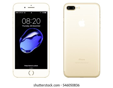 New York, USA - December 28, 2016: Brand new gold Apple iPhone 7 Plus front side and backside isolated on background with clipping path.