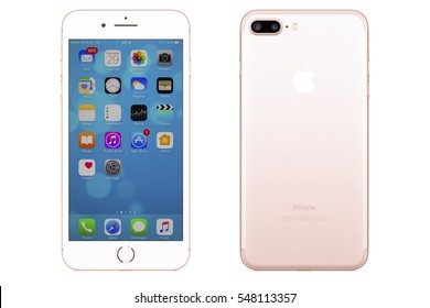 New York, USA - December 28, 2016: Brand new rose gold Apple iPhone 7 Plus front side and backside isolated on background with clipping path.