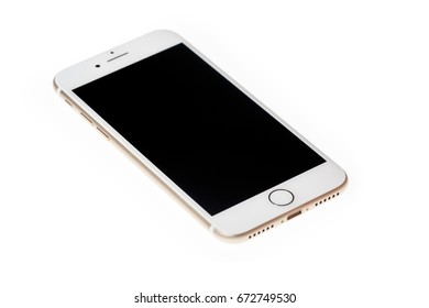 New York, USA - December 28, 2016: Brand new gold Apple iPhone 7 Plus front side isolate on background with clipping path.
