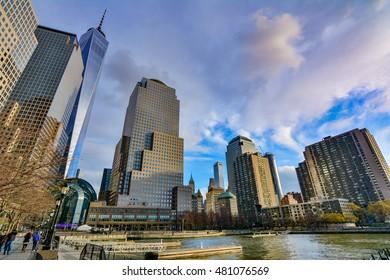 NEW YORK, USA - DECEMBER 29, 2015 -  Amazing New York cityscape, skyline with urban skyscrapers