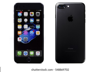 New York, USA - December 29, 2016: Brand new black Apple iPhone 7 Plus front side and backside isolate on background with clipping path.