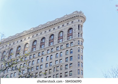 New York, USA: December 4, 2016 : Upside view of  Flatiron Building that was located near madison park.