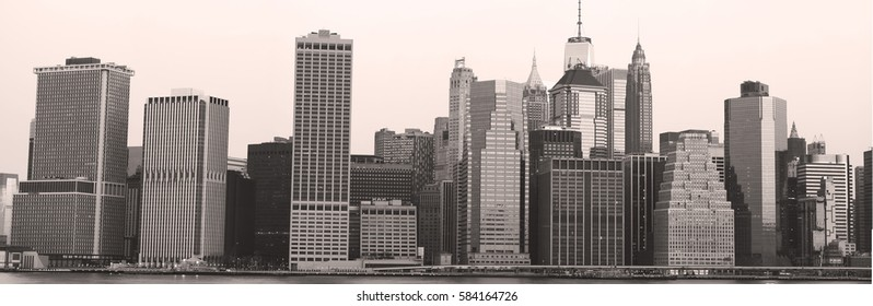 New York, USA, Feb. 18, 2017: panoramic view of New York skyline in black and white. Feb. 18, 2017 in New York, NY, USA
