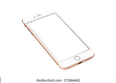 New York, USA - February 02, 2016: Studio shot of a white and Rose Gold iPhone 6s Plus with blank screen isolated on white. Apple released the iPhone 6s plus with 5.5 inches on September 25, 2015.