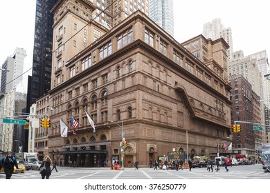 New York, New York, USA -  February 10, 2016: Carnegie Hall in Manhattan. Located on the corner of 57th St. and 7th Ave., Carnegie Hall is one of the most well known concert halls in the world.