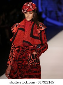 New York, USA - February 11, 2016: Desigual's Runway at the Skylight at Moynihan Station for New York Fashion week Showing the Fall / Winter Collection for 2016