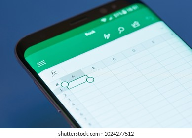 New york, USA - February 13, 2018: Excel  moblie menu application menu on smartphone screen close-up. Using Excel apps moblie menu