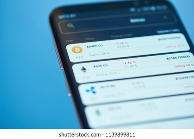 New york, USA - February 13, 2018: Price of bitcoin on mobile screen close up. Growing price of bitcoin