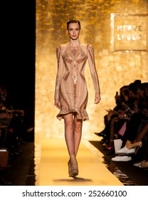 New York, USA - February 14, 2015: Herve Leger By Max Azria Runway at Lincoln Center for Mercedes Benz Fashion week Showing his Fall / Winter Collection for 2015