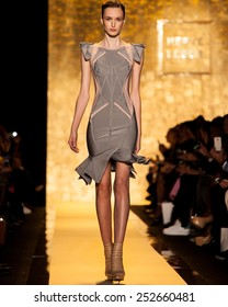 New York, USA - February 14, 2015: Herve Leger by Max Azria at Lincoln Center for Mercedes Benz Fashion week Showing his Fall / Winter Collection for 2015