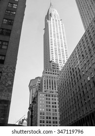 NEW YORK, USA - FEBRUARY 15, 2015: The Crysler Builing in Lexington Avenue was the highest building at the time of construction in 1930 in black and white