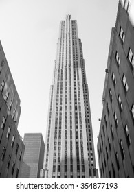 NEW YORK, USA - FEBRUARY 15, 2015: The Rockfeller Complex of 14 buildings in the Art Deco style built in 1930 was the largest private building project at the time in black and white