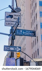 New York, USA February 17, 2020 City scape street view in Broadway with road signs