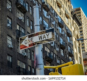 New York, USA February 17, 2020 City scape street view in Broadway with one way road sign