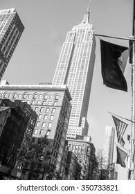 NEW YORK, USA - FEBRUARY 17, 2015: The Empire State Builing was the highest building at the time of construction in 1931 in black and white