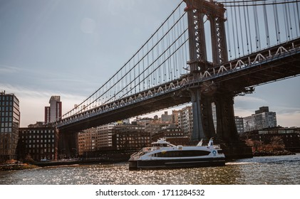 New York, USA February 19, 2020 Side view of Manhattan Bridge structure