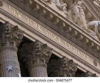 NEW YORK, NEW YORK, USA - FEBRUARY 19, 2005: New York Stock Exchange building exterior on Wall Street, in New York City's financial district.