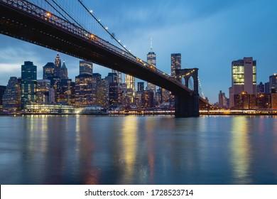 New York, USA. February, 2017. Brooklyn Bridge at night.