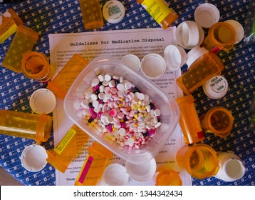 NEW YORK, USA - FEBRUARY 21, 2010: Prescription medications, including narcotics, in process of being destroyed after hospice patient death.