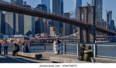 New York, USA February 22, 2020. Brooklyn Bridge in New York City