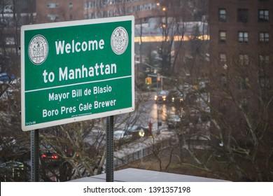 NEW YORK, USA - FEBRUARY 24, 2018: Welcome to Manhattan, Mayor Bill de Blasio in New York