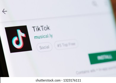New york, USA - february 25, 2019: Tik toe app in google store on device screen pixelated close up view
