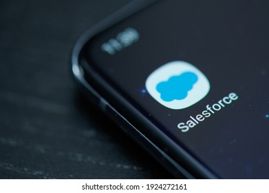 New york, USA - February 25, 2021: Salesforce crm mobile app on  smartphone screen close up view