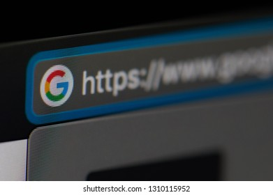 New york, USA - february 6, 2019: Open Google on web page browser on device screen pixelated close up view