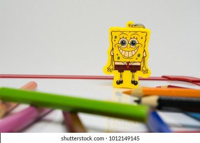 NEW YORK, USA - JANUARI 1, 2018: Back to school image concept.Sponge bob as an icon/