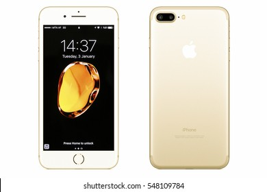 New York, USA - January 03, 2017: Brand new gold Apple iPhone 7 Plus front side and backside isolated on background with clipping path.