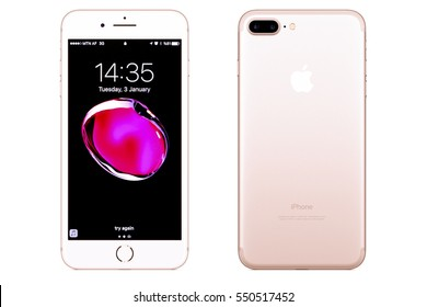 New York, USA - January 03, 2017: Brand new rose gold Apple iPhone 7 Plus front side and backside isolated on background with clipping path
