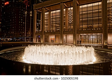 NEW YORK, USA - JANUARY 13, 2018: David H. Koch Theater for ballet, modern and other forms of dance, part of the Lincoln Center located at the intersection of Columbus Avenue and 63rd Street.