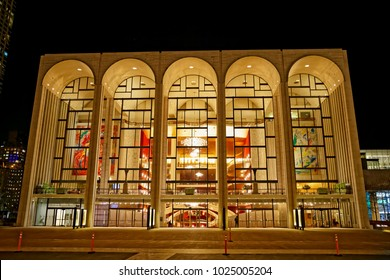 NEW YORK, USA - JANUARY 13, 2018: Metropolitan opera house is part of the Lincoln Center located at the intersection of Columbus Avenue and 63rd Street.