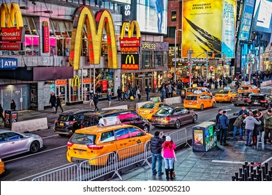 NEW YORK, USA - JANUARY 13, 2018: McDonalds on Times square in cold winter night.