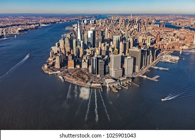 NEW YORK, USA - JANUARY 14, 2018: Aerial view of lower Manhattan on the beautiful winter day.