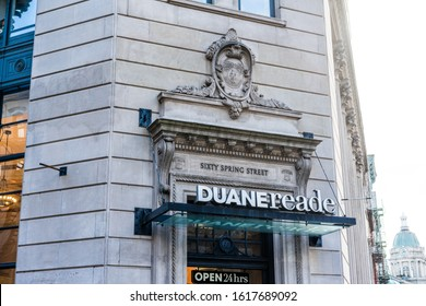 New York / USA - January 15 2020: Duane Reade store and Signboard on the Broadway. Chain of pharmacy and convenience stores owned by Walgreens Boots Alliance