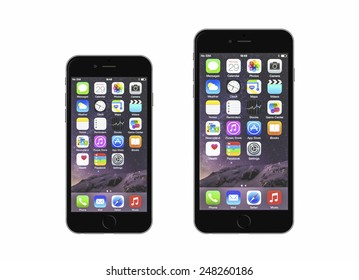 New York, USA - January 18, 2015: Front view of a space grey color iPhone 6 and iPhone 6 Plus