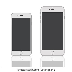New York, USA - January 18, 2015: Front view of a silver color iPhone 6 and iPhone 6 Plus