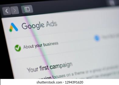 New york, USA - january 24, 2019: Google ads theme  menu on device screen pixelated close up view. Google ads theme