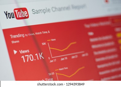 New york, USA - january 24, 2019: Youtube sample channel report menu on device screen pixelated close up view
