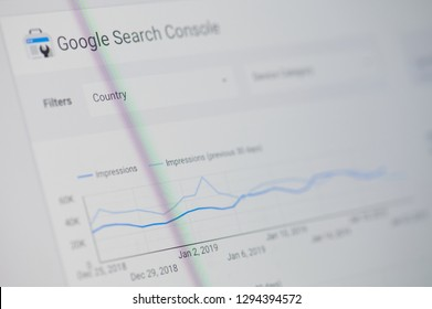 New york, USA - january 24, 2019: Google search console menu on device screen pixelated close up view