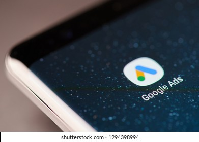 New york, USA - January 24, 2019: Google ads app icon on smartphone screen close up view